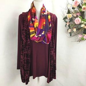 Susan Graver 3 pieces blouse ,burnout vest & scarf